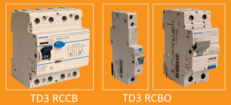 Автоматичні вимикачі Terasaki TD3 RCCB, TD3 RCBO