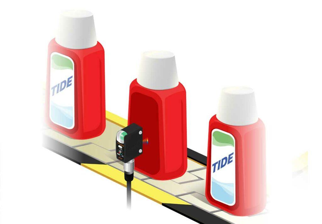 Датчики кольорових міток використовуються для виявлення наявності етикеток.